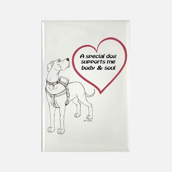 Heart Dog Support Rectangle Magnet