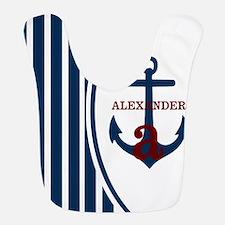 Anchor and Stripes Monogram Bib