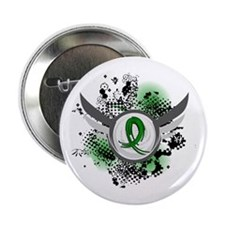 """Gastroparesis Grunge Ribbon Wings 2.25"""" Button"""