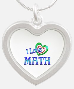 I Love Math Silver Heart Necklace
