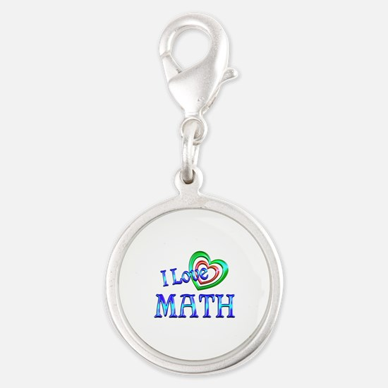 I Love Math Silver Round Charm