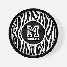 Zebra Animal Print Personalized Monogram Wall Cloc