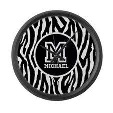 Zebra Animal Print Personalized Monogram Large Wal