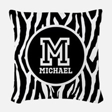 Zebra Animal Print Personalized Monogram Woven Thr
