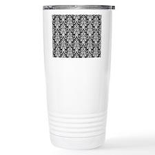 Black/White Damask Baroque Pattern Travel Mug