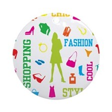 Fashion chic shopping design Ornament (Round)