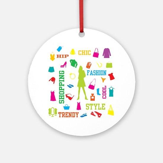 Fashion chic shopping design Ornament (Round)