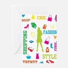 Fashion chic shopping design Greeting Cards