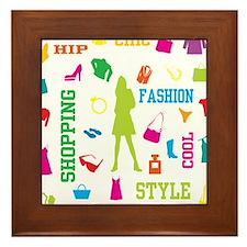 Fashion chic shopping design Framed Tile
