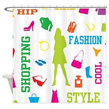 Fashion chic shopping design Shower Curtain