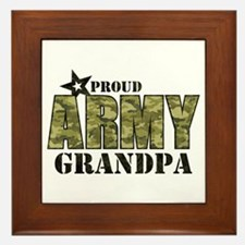 Camo Proud Army Grandpa Framed Tile