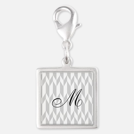Monogram and Gray Graphic Pattern Charms