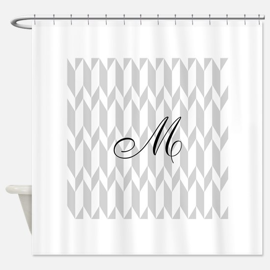 Monogram and Gray Graphic Pattern Shower Curtain
