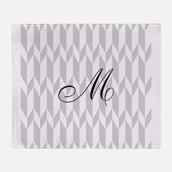 Monogram and Gray Graphic Pattern Throw Blanket