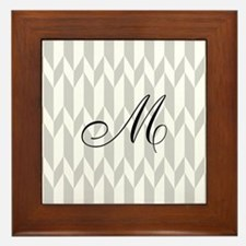 Monogram and Gray Graphic Pattern Framed Tile