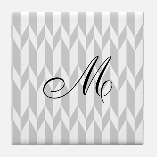 Monogram and Gray Graphic Pattern Tile Coaster
