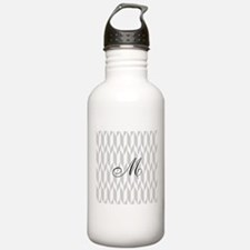 Monogram and Gray Graphic Pattern Water Bottle