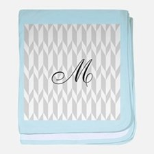 Monogram and Gray Graphic Pattern baby blanket