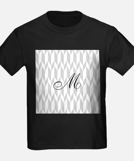 Monogram and Gray Graphic Pattern T-Shirt