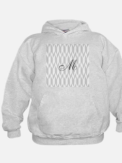 Monogram and Gray Graphic Pattern Hoodie