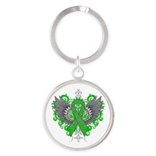 Spinal Cord Injury Wings Round Keychain