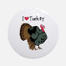 I Love Turkey Ornament (Round)