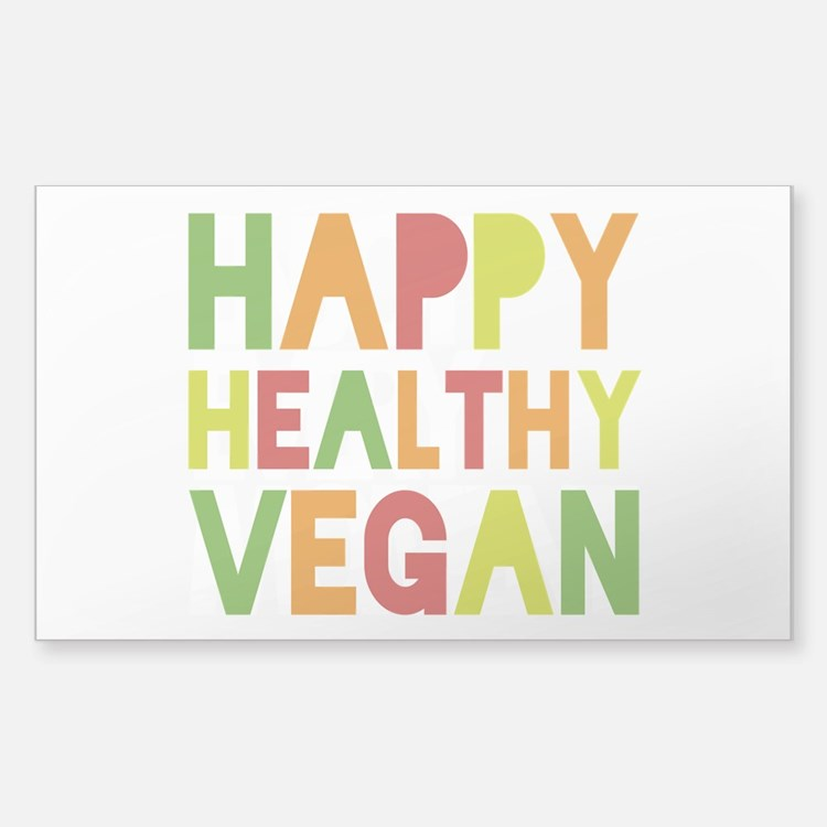 Happy Vegan Sticker (Rectangle)