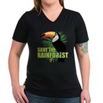Save The Rainforest Women's V-Neck Dark T-Shirt