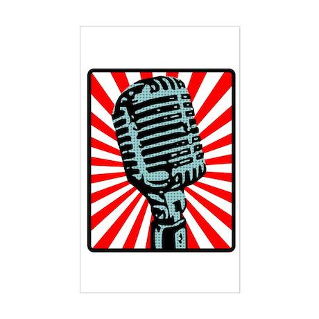 Retro Microphone Sticker (Rectangle)