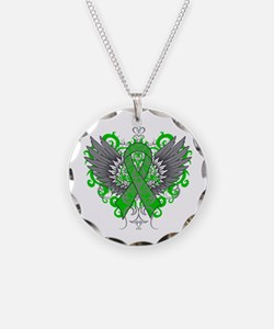 Neurofibromatosis Wings Necklace Circle Charm