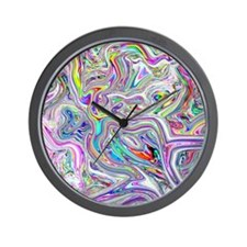 Psychedelic color melt - light Wall Clock