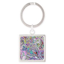 Psychedelic color melt - light Square Keychain