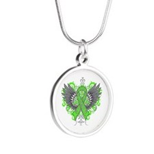 Mental Health Wings Silver Round Necklace