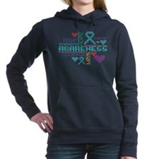 Ovarian Cancer Colorful Slogans Hooded Sweatshirt