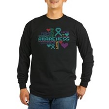 Ovarian Cancer Colorful Slogans Long Sleeve T-Shir