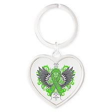 Lyme Disease Wings Heart Keychain
