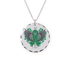Liver Disease Wings Necklace Circle Charm