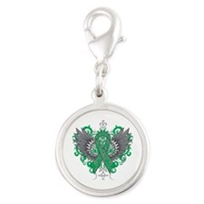 Liver Disease Wings Silver Round Charm