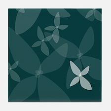Flower Art (sea blue) Tile Coaster