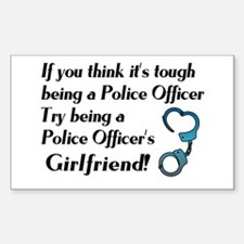Tough Police Girlfriend Rectangle Decal