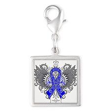 Huntington Disease Wings Silver Square Charm