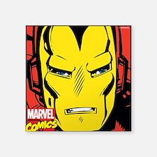 "Retro Iron Man Square Sticker 3"" x 3"""