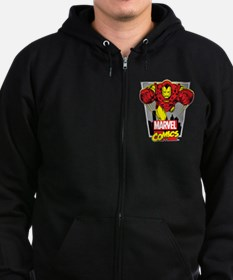Retro Flying Iron Man Zip Hoodie