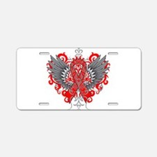 Heart Disease Wings Aluminum License Plate