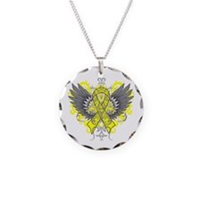 Endometriosis Wings Necklace Circle Charm