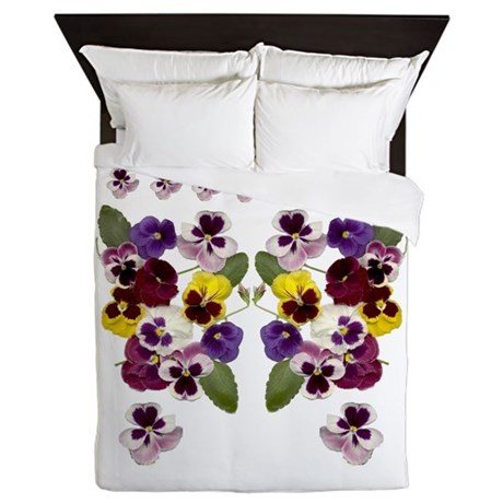 Lovely Pansies Queen Duvet