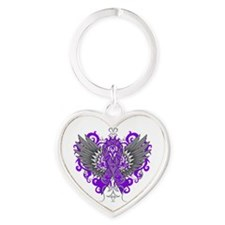 Cystic Fibrosis Wings Heart Keychain