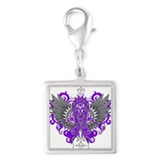 Crohns Disease Wings Silver Square Charm