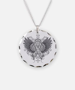 Brain Tumor Wings Necklace Circle Charm