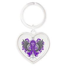 Alzheimer's Disease Wings Heart Keychain